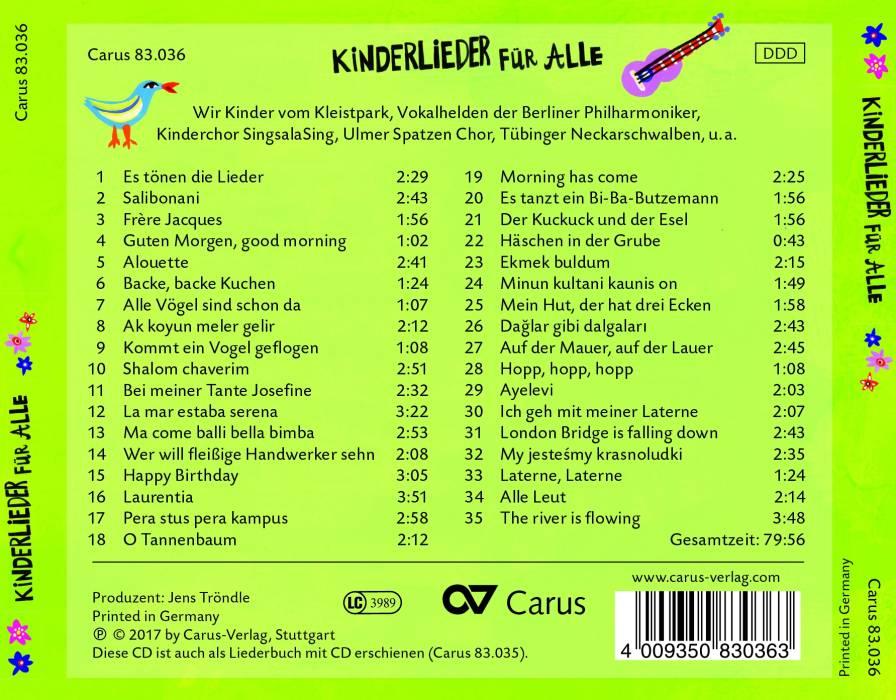 O Tannenbaum Kinderlied.Kinderlieder Für Alle Car83036 Carus Verlag Classique Nos