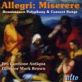 Allegri : Miserere. Pro Cantione Antiqua, Brown.