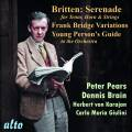 Britten : Sérénade, op. 31 - Variations, op. 10 - The Young Person's Guide. Pears, Brain, Goosens, Karajan, Giulini, Boult.